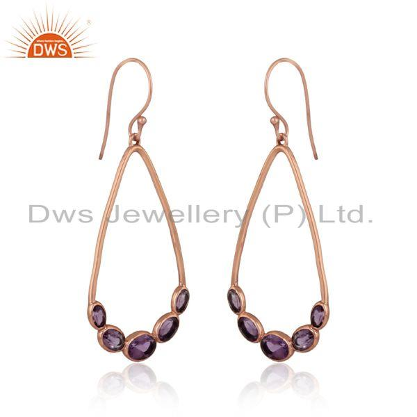 Natural amethyst gemstone rose gold on silver designer earrings