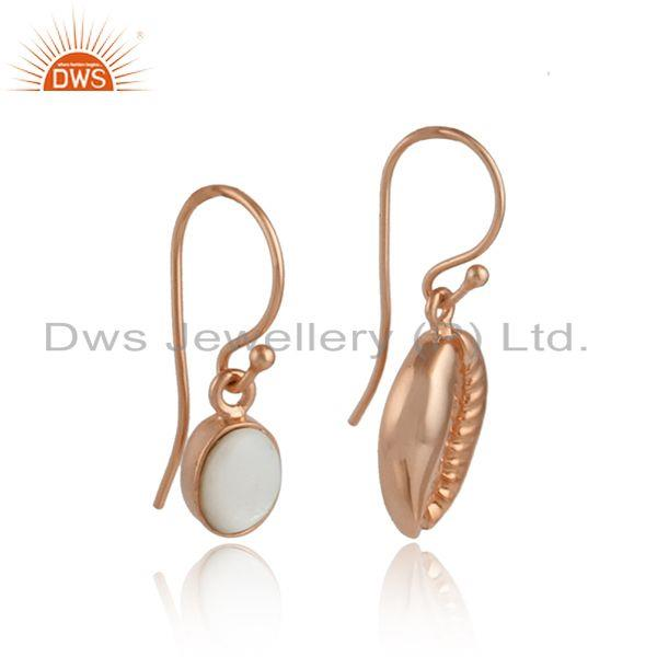 Mother of pearl gemstone cowrie rose gold plated silver earrings