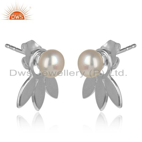 Designer dainty leaf stud in fine silver with adorable pearl