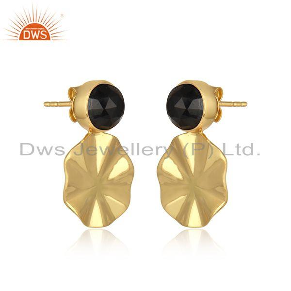 Disc design 18k yellow gold plated black onyx gemstone earrings