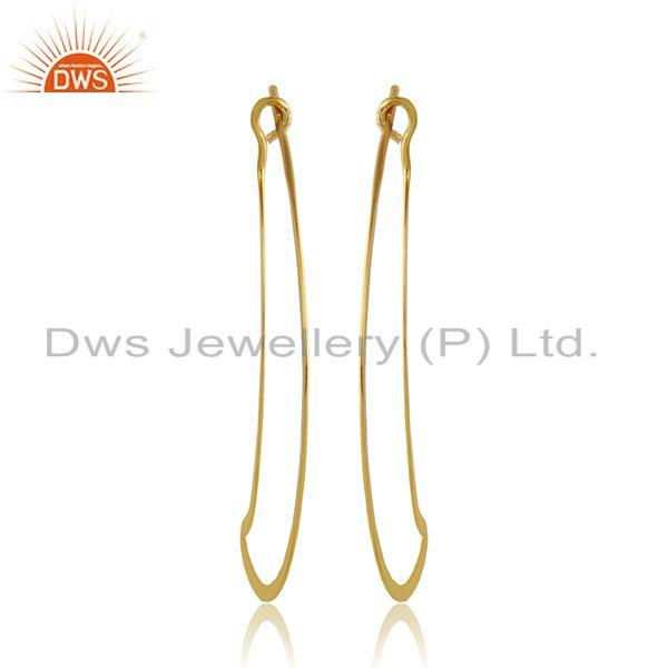 Banana design 18k yellow gold plated womens plain silver earrings