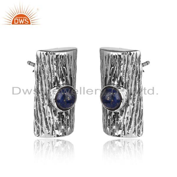 Lapis lazuli gemstone vintage design oxidized 925 silver earrings