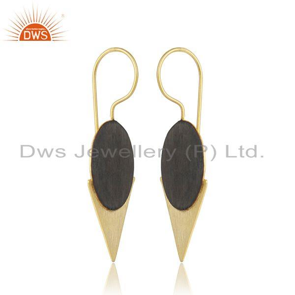 Two tone plated 925 sterling plain silver earrings jewelry for girls