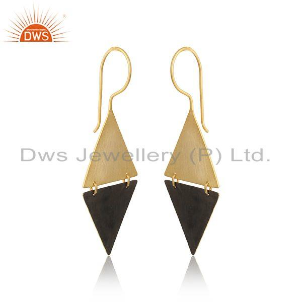 Triangle two tone plated 925 sterling plain silver earrings jewelry