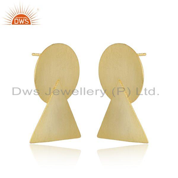 Handmade yellow gold plated 925 silver womens earrings jewelry
