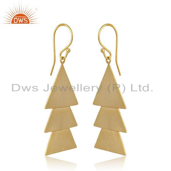 Triangle shape yellow gold plated plain silver designer earrings