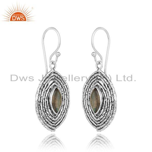 Handmade 925 silver oxidized labradorite gemstone womens earrings