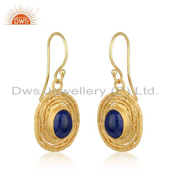 Oval shape gold plated 925 silver lapis lazuli gemstone earrings
