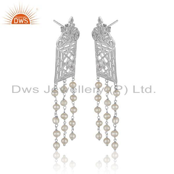Filigree frame white rhodium plated silver cz pearl gemstone earring
