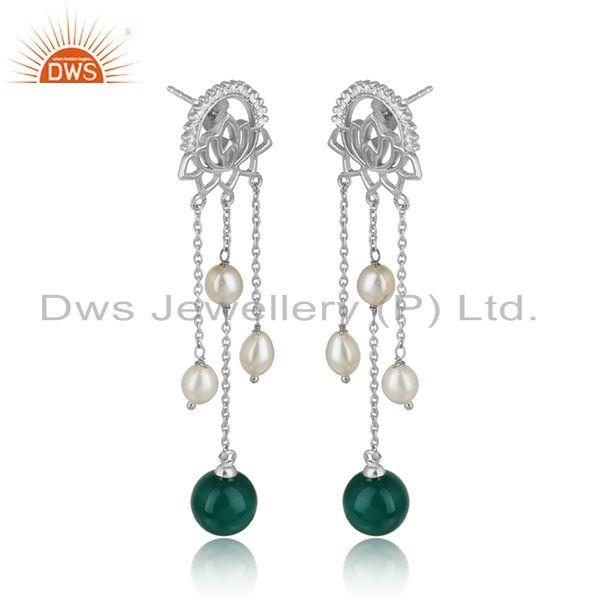 Cz green onyx gemstone white rhodium plated silver designer earrings