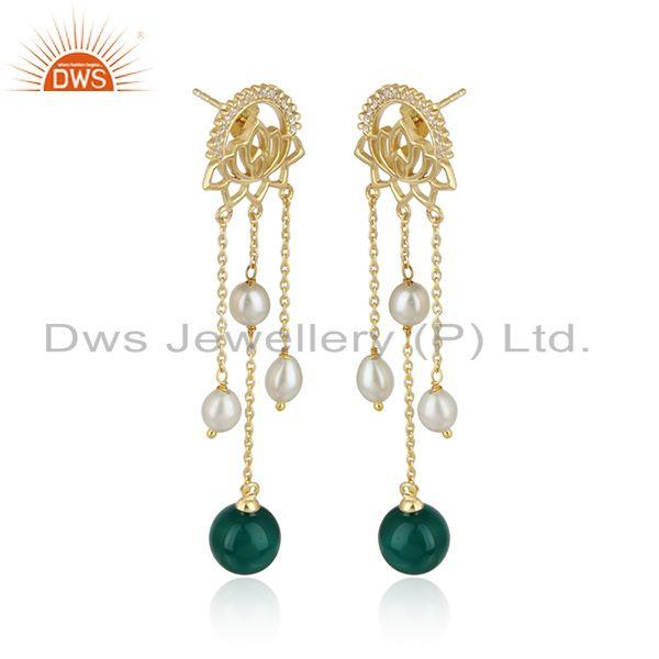 Louts gold plated silver pearl green onyx drop gemstone earrings