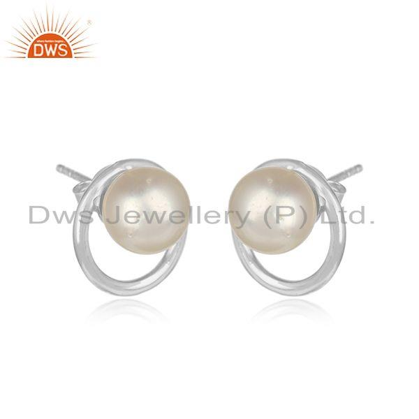 Round white rhodium plated 925 silver pearl gemstone stud earrings