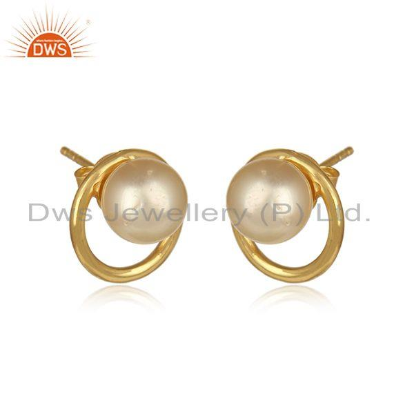 Round 18k gold plated 925 silver pearl gemstone stud earring jewelry