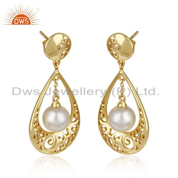 New 925 silver 18k gold plated 925 silver designer earrings jewelry