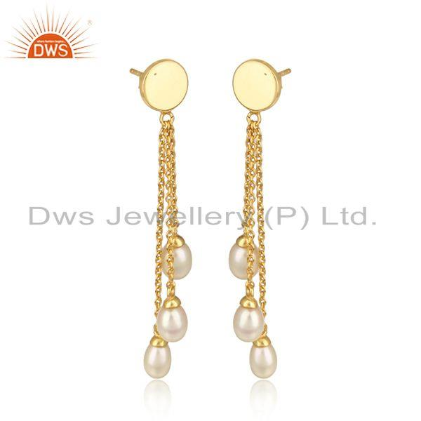 Natural pearl chain drop design gold plated 925 silver earrings
