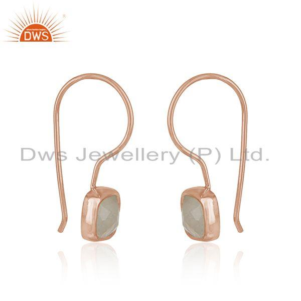 Handmade earring in rose gold on silver with raonbow moonstone