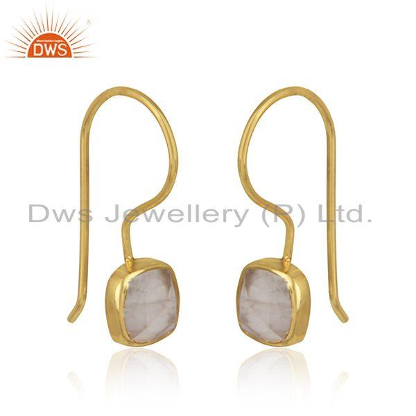 Handmade smooth earring in yellow gold on silver with rose quartz