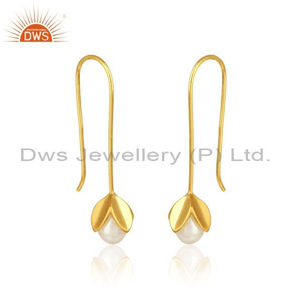 Leaf drop earring in yellow gold on silver 925 crafted with pearl