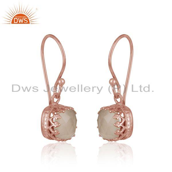 Handmade dangle in rose gold on silver with rose quartz