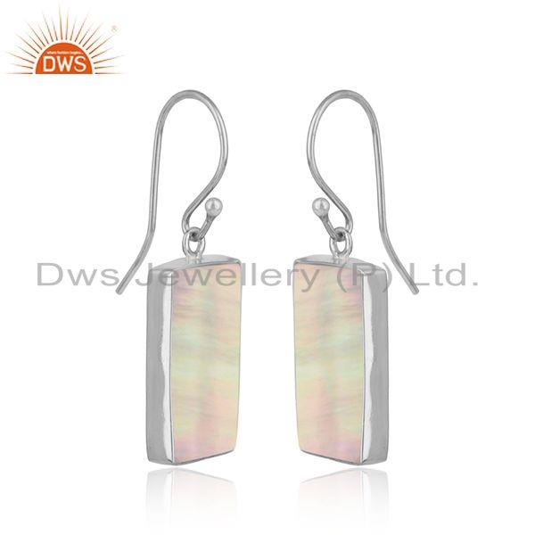 Handmade dangle mother of pearl bar earring in solid silver 925