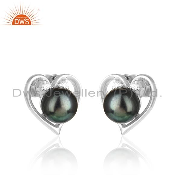 Designer heart studs in rhodium plated silver gray pearl and cz