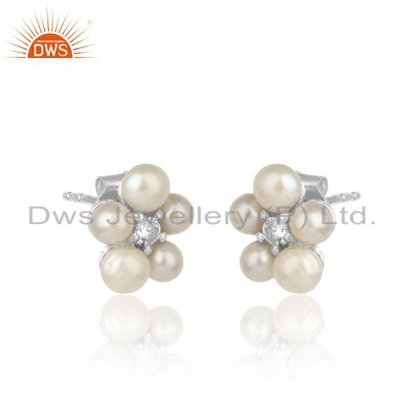 Floral designer pearl cz earring in whte rhodium on silver 925