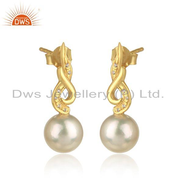 18k gold plated designer 925 silver cz natural pearl earrings