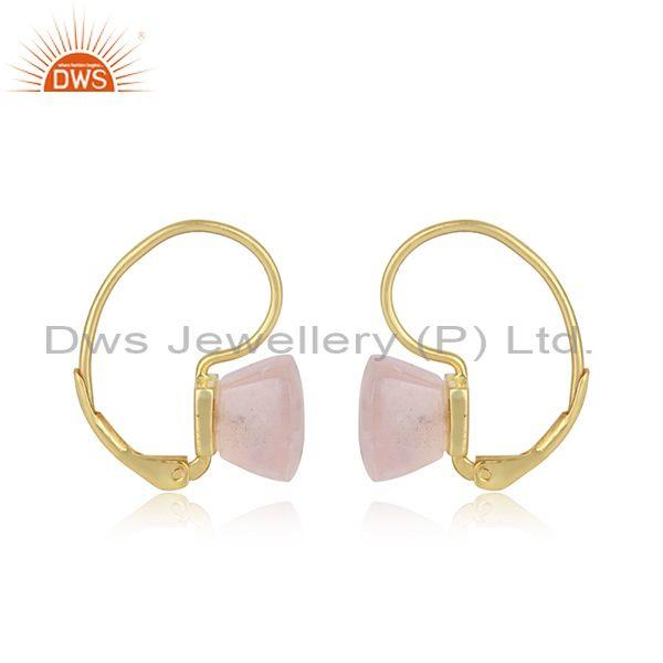 Exquisite solitaire earring in gold plated silver and rose quartz