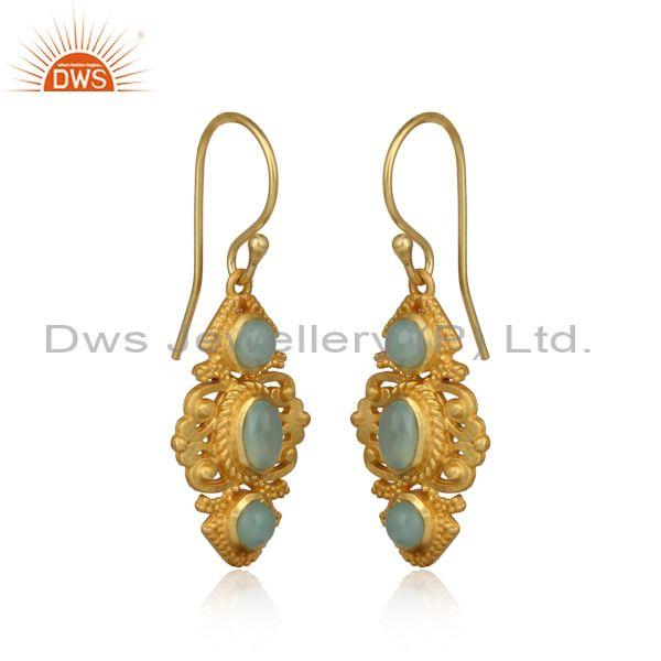 Boho Earring in Yellow Gold on Silver 925 with Aqua Chalcedony Wholesale