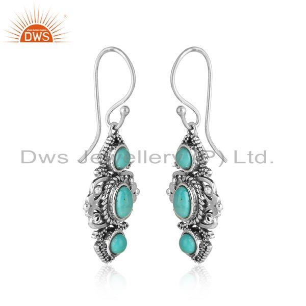 Boho dangle earring in oxidised silver with arizona turquoise