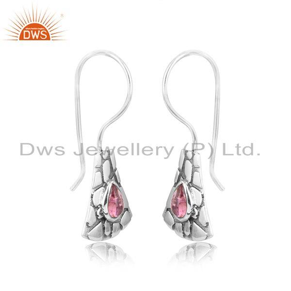 Jaguar textured earring in oxidized silver with pink tourmaline