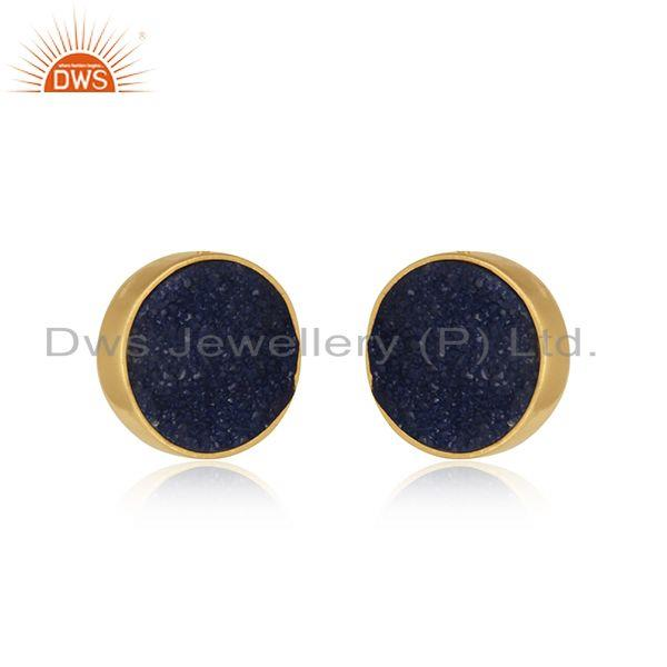 Elegant dainty studs in yelow gold on silver 925 with blue druzy