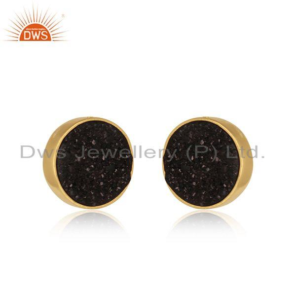 Elegant dainty studs in yelow gold on silver 925 with black druzy
