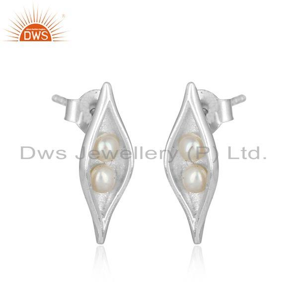 Designer seedpod studs in solid silver 925 with natural pearls