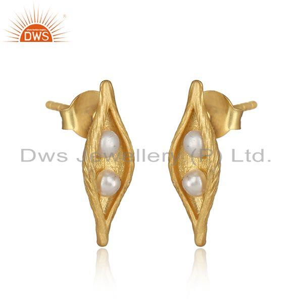 Designer seedpod natural pearl stud in yellow gold on silver 925