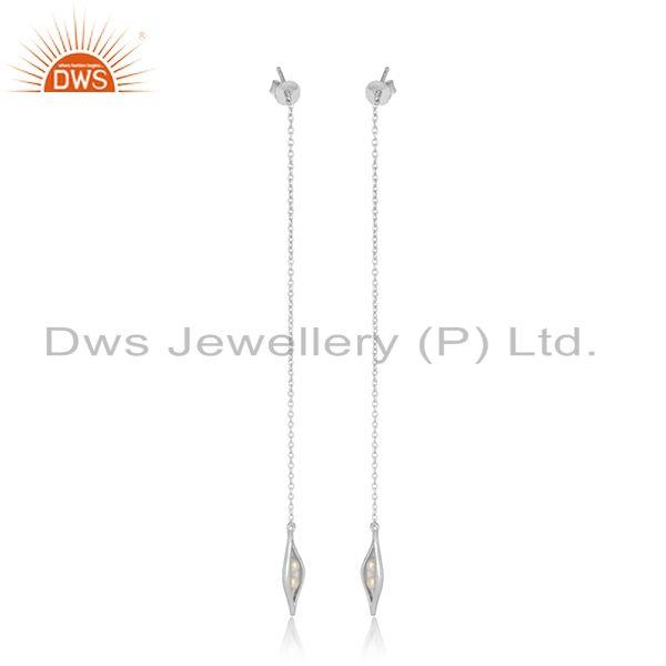Designer long seedpod earring in solid silver with natural pearl