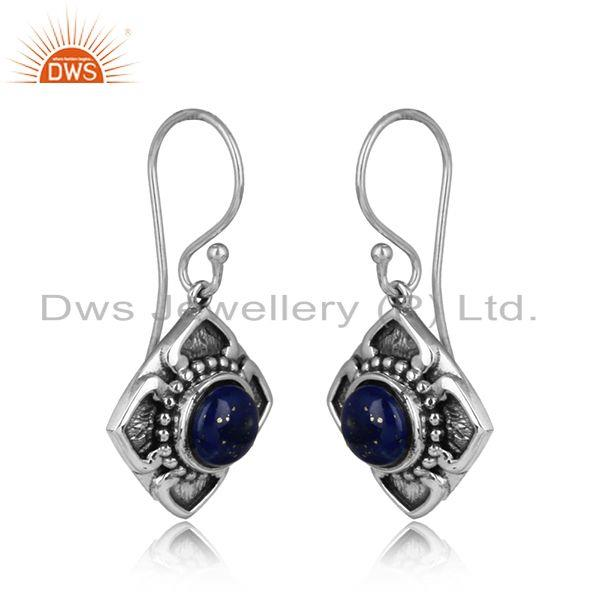 Handmade designer earring in oxidised silver 925 with lapis