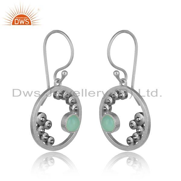 Handcrafted granule aqua chalcedony dangle in oxidized silver 925