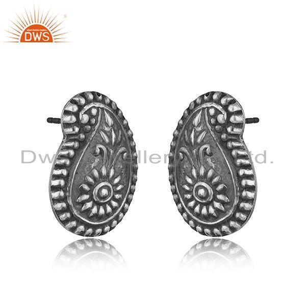 Traditional design hand textured tribe stud in oxidized silver 925