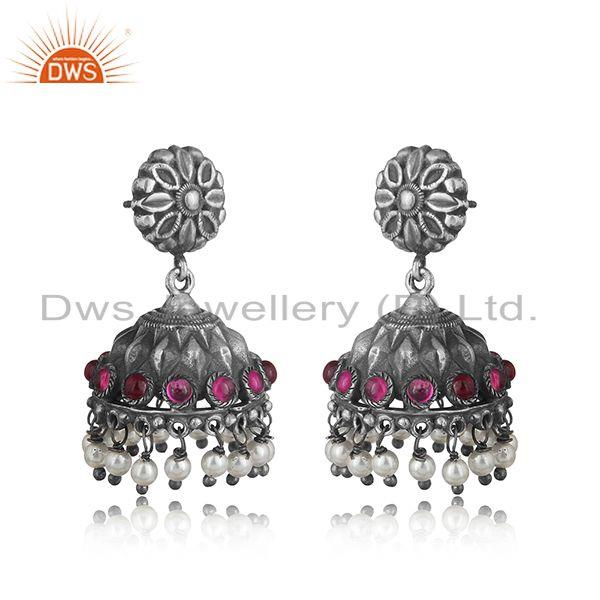Traditional design textured tribe red stone jhumka in oxidized silver
