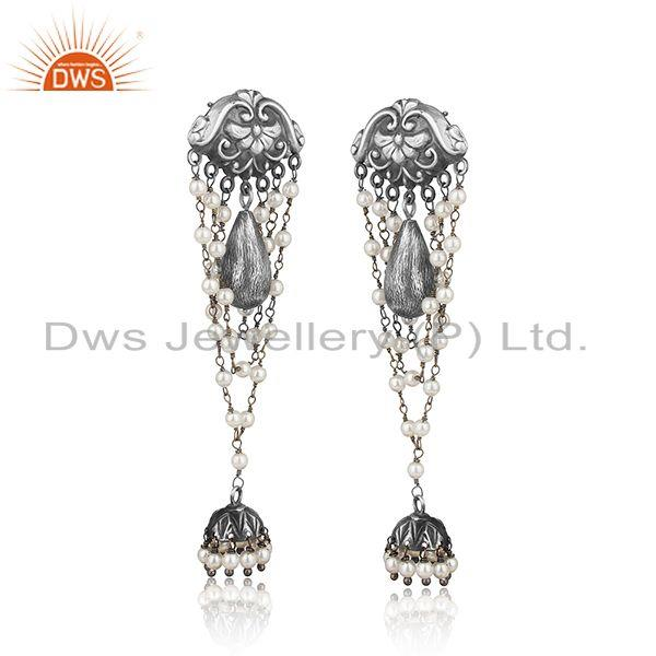 Designer tribe oxidized silver jhumka with hand wrapped pearls