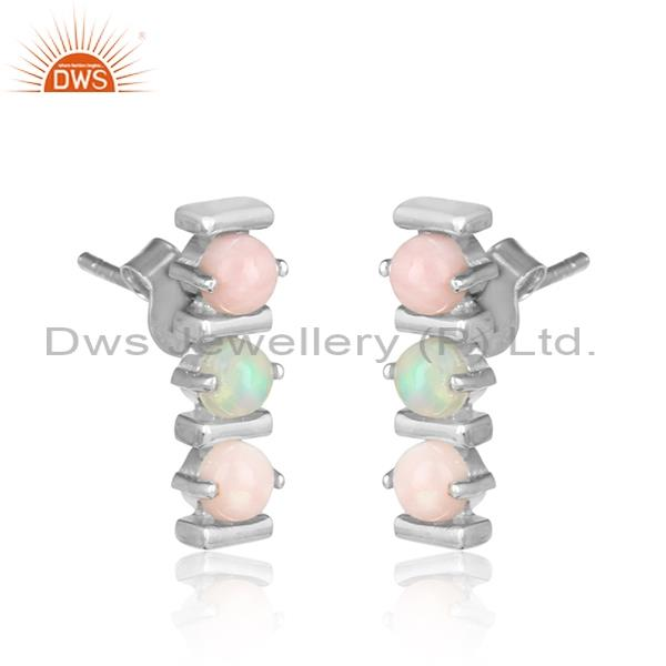 Ethiopian And Pink Opal Silver And White Rhodium Earrings Exporter