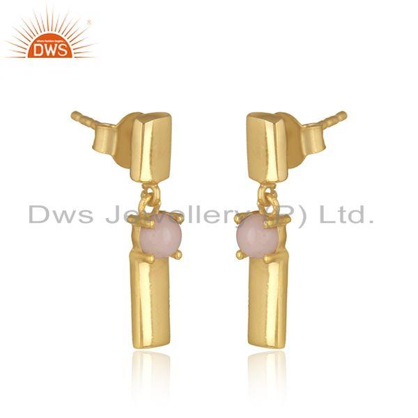 Designer handmade yellow gold on silver bar dangle earring with pink opal