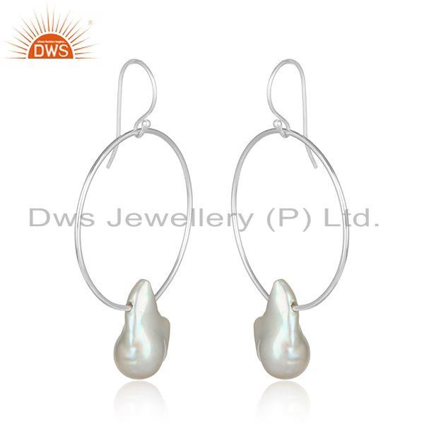 Handcrafted bold hoop sterling silver 925 dangle with pearl