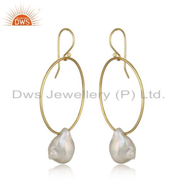 Handcrafted bold hoop yellow gold on silver dangle with pearl