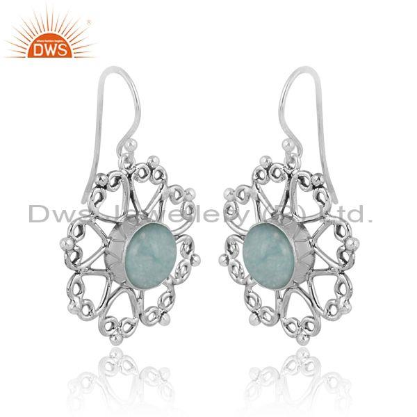 Doublet amazonite crystal set oxide silver floral earrings