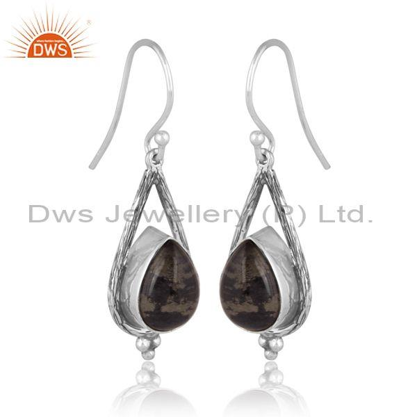 Doublet apache gold crystal oxidized silver floral earrings