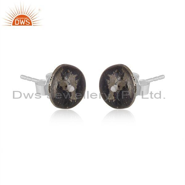 Doublet apache gold crystal set fine silver round earrings