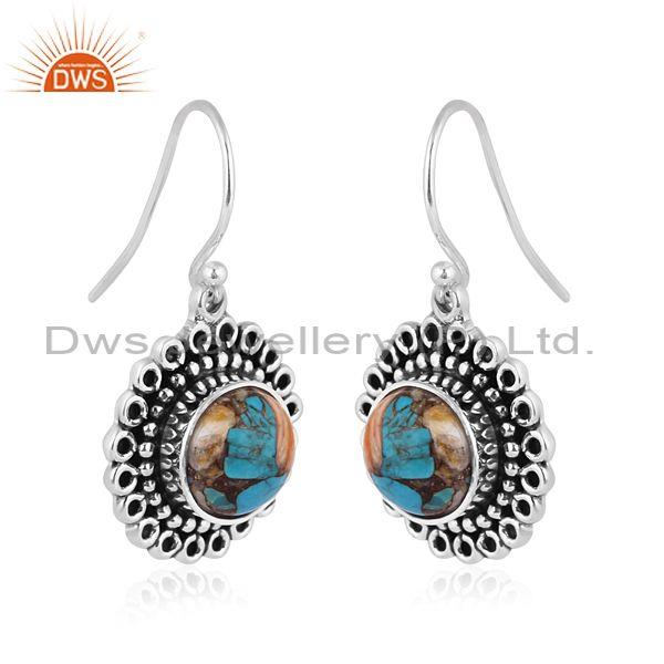 Round mojave copper oyster turquoise oxide silver earrings