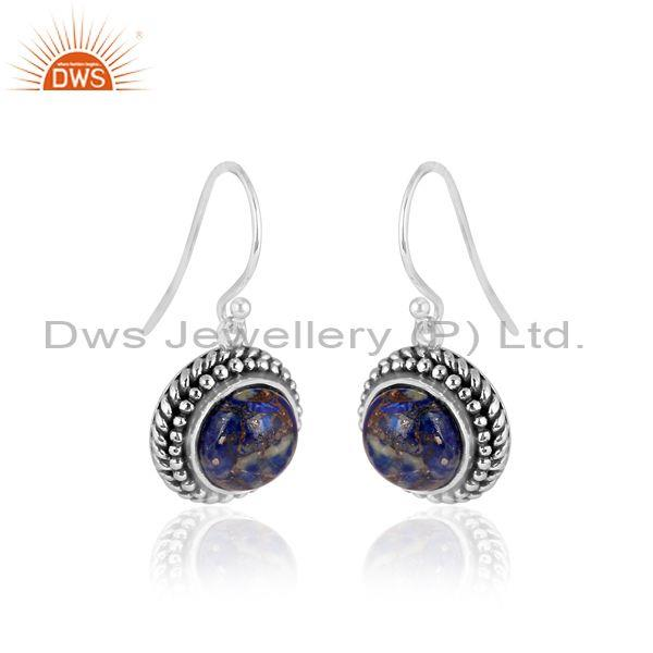 Round mojave copper lapis set oxidized 925 silver earrings